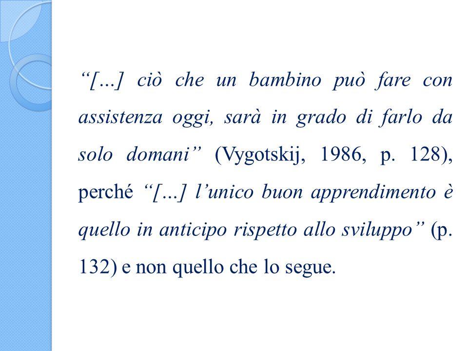 […] ciò che un bambino può fare con assistenza oggi, sarà in grado di farlo da solo domani (Vygotskij, 1986, p.